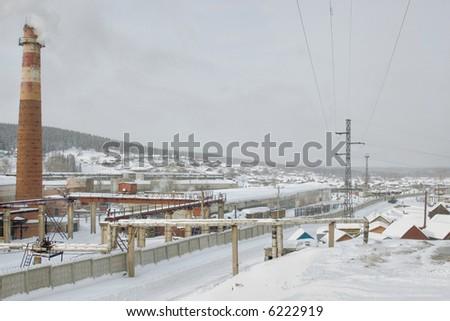 winter industrial russian landscape - stock photo
