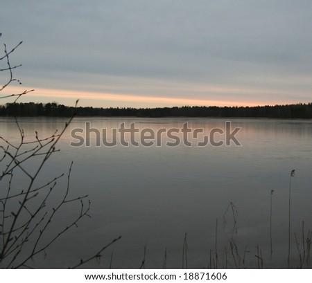 winter lake - stock photo