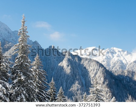winter landscape a sunny day in bucegi mountains romania