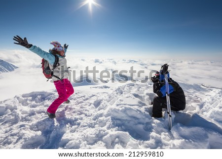 Winter landscape at Gudauri ski resort, Georgia. - stock photo
