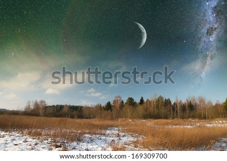 winter landscape at night. Elements of this image furnished by NASA - stock photo