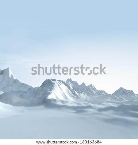 Winter landscape background, 3d Digital Art - stock photo