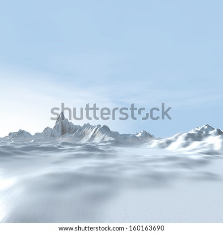 Winter landscape background, 3d Digital Art - stock photo