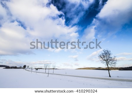 Winter Landscape Background. Field Covered with Snow. Cold Morning Winter Photo. - stock photo