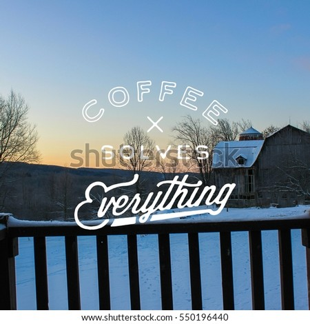 winter landscape background with coffee text