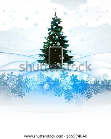 winter landscape card with xmas tree and new smart phone illustration - stock photo