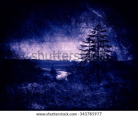 Winter Landscape, Christmas Background With Tree