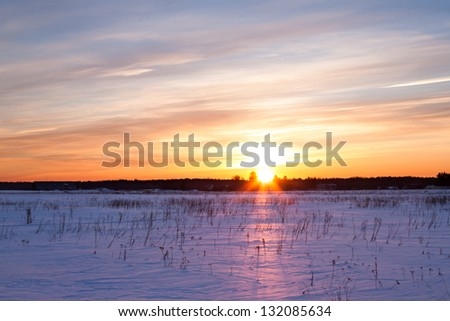 Winter landscape. Composition of nature with sunset - stock photo
