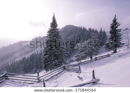 winter landscape, Europe mountains, Happy New Year