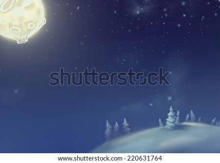 Winter landscape. Forest on a mountain in the snow. Moonlight.  Author's illustration.