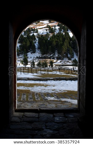 Winter landscape from inside the chapel at Nuria Valley