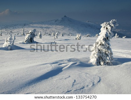 Winter landscape from Karkonosze Mountains, Poland.
