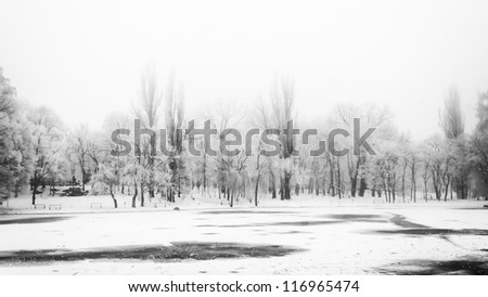 Winter landscape frozen lake A view across a frozen lake with ice from frozen mist covering trees along the shore. - stock photo