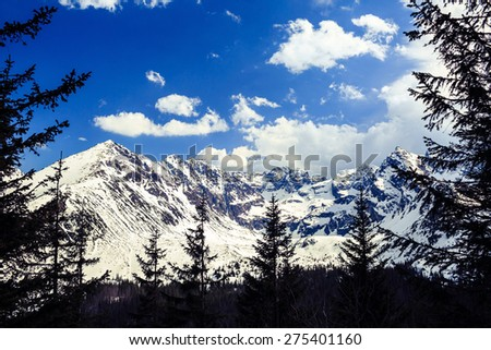 Winter landscape in beautiful Tatra Mountains. White mountain ridge with snow over blue sunny sky in Poland. Frame with forest and trees silhouette. - stock photo