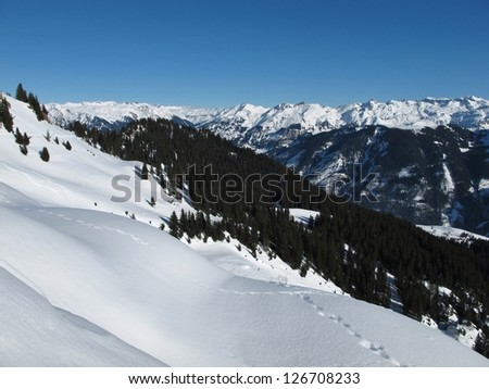Winter landscape in Braunwald, high mountains