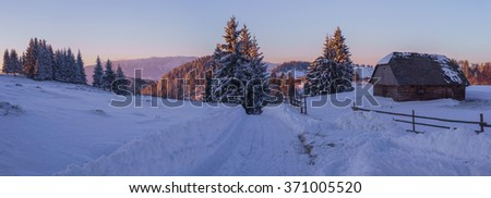 Winter landscape in Carpathian Mountain