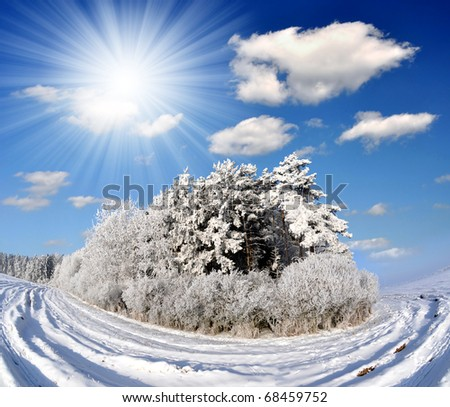 Winter landscape in Czech Republic - stock photo
