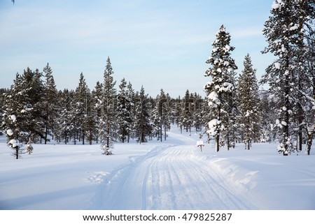 Winter landscape in Lapland, Finland.