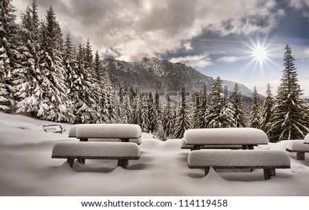 winter landscape in mountain forest, Romania - stock photo
