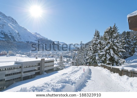 Winter landscape in St. Moritz (German: Sankt Moritz; Italian: San Maurizio), a resort town in the Engadine valley in Switzerland - stock photo