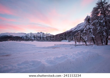 Winter landscape in St. Moritz (German: Sankt Moritz; Italian: San Maurizio), a resort town in the Engadine valley in Switzerland