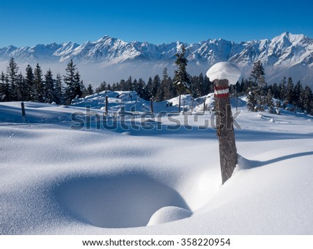 Winter landscape in the Alps with Karwendel Mountains - stock photo