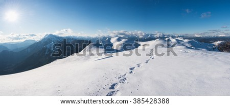 Winter landscape in the high mountains