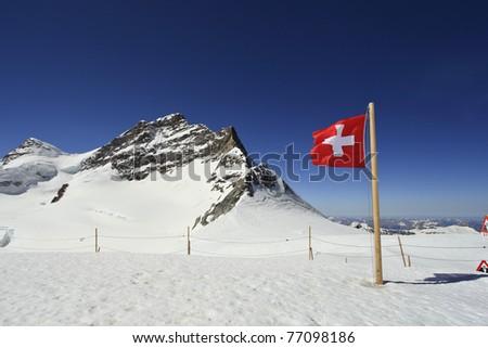 Winter landscape in the Jungfrau - stock photo