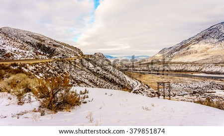 Winter Landscape in the semi desert of the Thompson River Valley in central British Columbia, Canada - stock photo