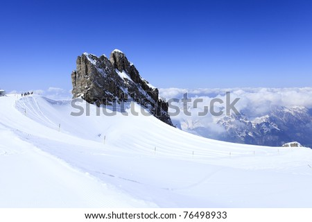 Winter landscape in the Titlis - stock photo