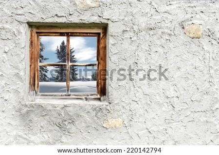 Winter landscape in Wood window - stock photo