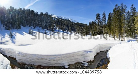 winter landscape Kleinwalsertal - stock photo