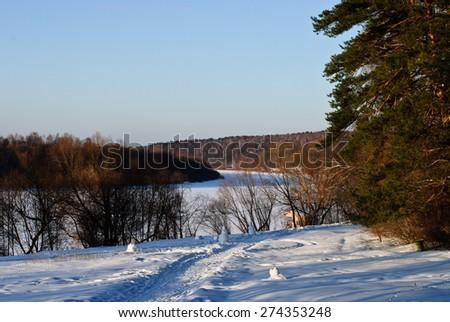Winter landscape near the Oka River (Russia) - stock photo