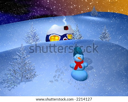 Winter landscape. Night before Christmas. A snow valley, a small  house and a snowman