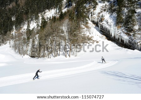 Winter landscape of Engelberg on the Swiss alps