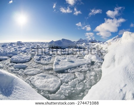 Winter landscape of the Arctic - stock photo
