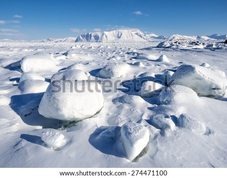 Winter landscape of the Arctic - stock photo