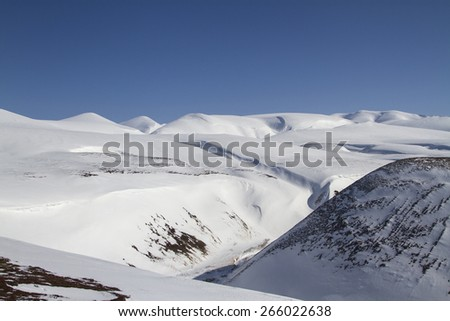 Winter landscape of the central part of Bering Island on a sunny day