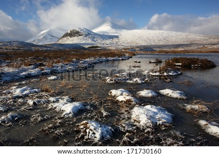Winter landscape on Rannoch Moor in the Scottish Highlands. - stock photo
