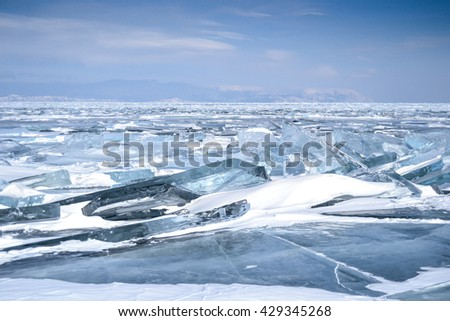 Winter landscape on the frozen Lake Baikal, Russia - stock photo