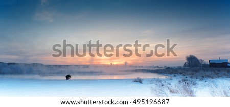 winter landscape on the lake