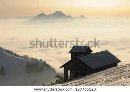 Winter landscape on the mountain Rigi, in Switzerland - stock photo