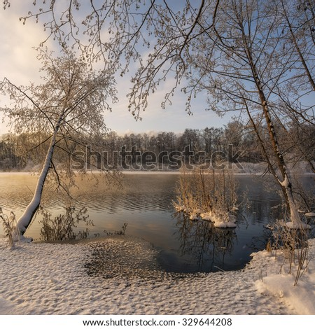 winter landscape on the shore of the Holy lake in Russia