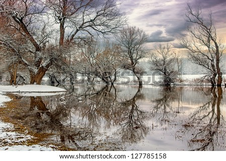 Winter landscape river Zagyva in Hungary-this photo make hrd technik - stock photo