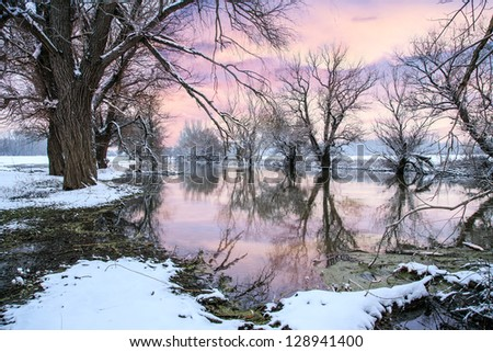 Winter landscape river Zagyva in Hungary-this photo make hrd technik - stock photo