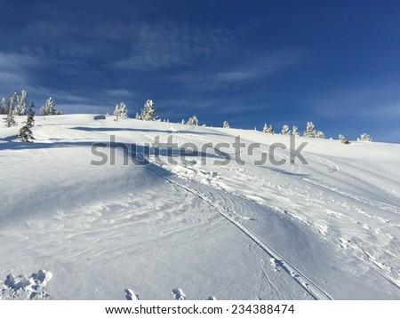 Winter landscape (Russia, Sheregesh) - stock photo