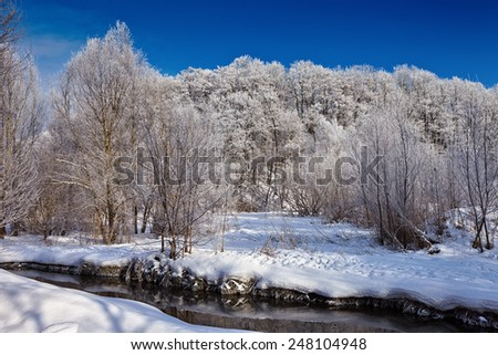 Winter landscape. Snow-covered forest on the banks of the creek, sunny day. - stock photo