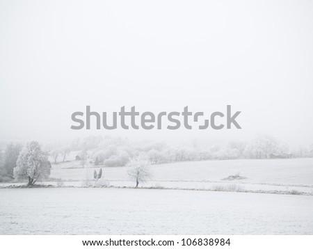 Winter landscape, Sweden. - stock photo