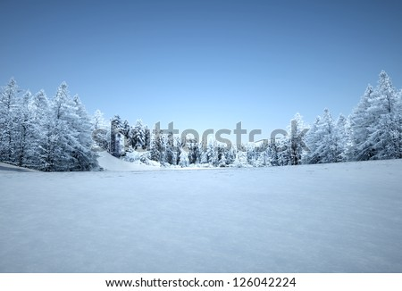 winter landscape, tranquil pine forest, 3d render dey - stock photo