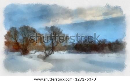 winter landscape, watercolor - stock photo